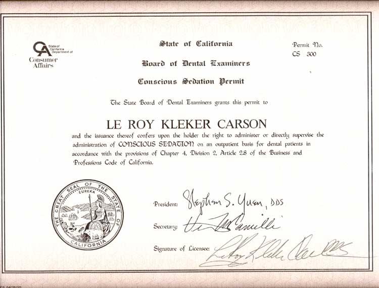 Dr  LeRoy Carson's Dental History - CarsonDDS com