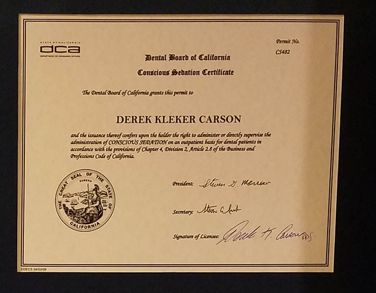 Dr. Derek K. Carson's conscious sedation certificate