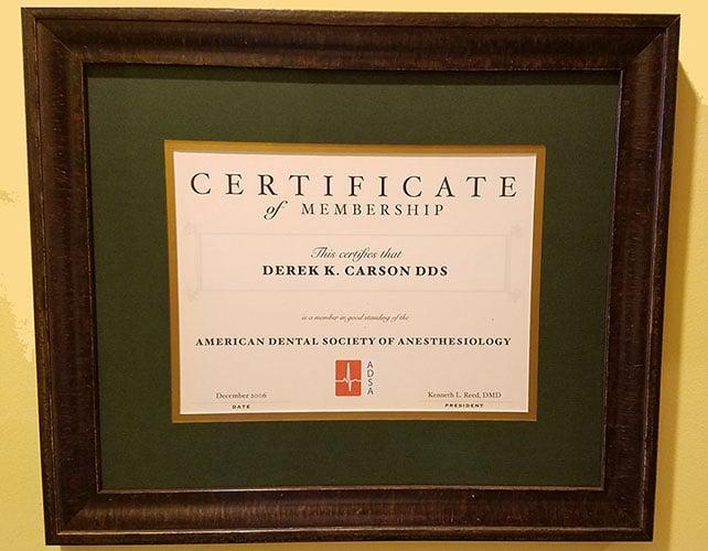 Dr. Derek Carson's certificate of membership to ADSA